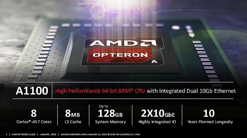 AMD正式推出三款 ARM架構的Opteron A1100系列處理器